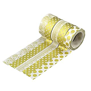 Allbusky Dekorative Washi Tape Bunte klebrige Klebstoff Masking Tape DIY Handwerk Dekor (Colorful Set) (Point Gold)