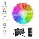 LED Ruban Musical, Fansteck Bande LED 5M 5050 RGB IP65 Lumière Multicolore Bandeau LED Auto-adhésif avec Télécommande Décoration pour l'Intérieur et l'extérieur dans Noël, Fête, etc