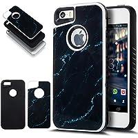 iPhone 5S caso, iPhone se funda, iPhone 5caso, ikasus Slim doble capa protectora caso mármol 2en 1Híbrido Carcasa rígida y suave silicona Carcasa de TPU para iPhone 5S 5se