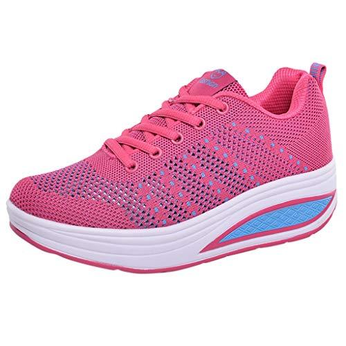 Zegeey Femme Chaussures Compensées Sport Été Automne Printemps Chaussures Chic Confortable Chaud Mode Augmentées Engrener Marchant Outdoor Baskets Running Gym Doux Casual(Rouge,EU37)