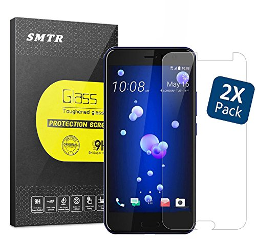 """HTC U 11 5.5"""" Vetro Temperato Pellicola Protettiva Glass Screen, SMTR® [resistant Scratch][Super chiaro][Facilità di installazione] 0.33mm 9H 2.5D durezza vetro, per HTC U 11 5.5"""",(2 Pack)"""