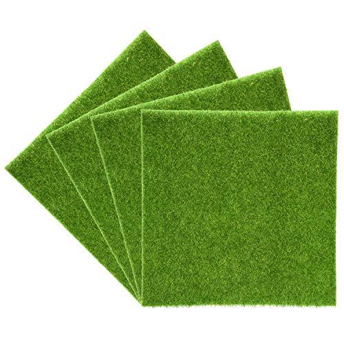 Kunstgras Gras Gras Rasenmäher Kunststoff Innen im Freien Gras Kunstleder grün Micro-Verzierung-Landschaft Dekoration von Haus 4Pz 30*30cm