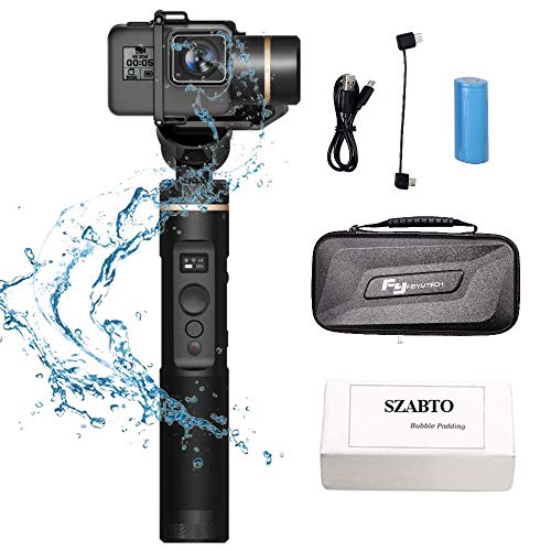 Feiyu G6 Handheld-3-Achsen-Stabilisator Update OLED-Bildschirm, 360 ° Winkel, spritzwassergeschützt, 1/4-Loch-Action-Kamera Gimbal Stabilisator für GoPro Hero 6/5/4/3 /, Yi Cam 4K, AEE, RXO