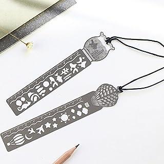 Kcopo Fischtank Lesezeichen Metall Lanyard Lesezeichen Clip Markierungen mit Lineal Edelstahl Lineal Buchzeichen mit Figuren zum Malen Fisch Luft