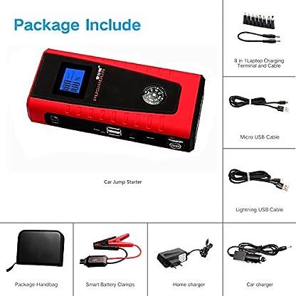 51hi7ovmGSL. SS416  - Arrancadores De Coche 12000mAh 600A Emergencia Bateria Kit Arranque para 12V 4.0L Gasolina & 2.0L Diesel Con Pinzas Inteligentes, Pantalla LCD, LED, USB Puertos para Emergencia Smartphones