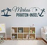 NEU tjapalo® s-pkm166 XL Wandtattoo mit Namen Wandtatoo Kinderzimmer junge Baby Pirateninsel kleiner Pirat Wandsticker Name Wunschnamen (B120 x H25(medium))