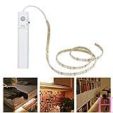 LiZhi Bewegung aktiviert Bett Licht Doppelmodus-Bewegungs-Nachtlicht, 3000K 3.28ft flexibler LED-Streifen für Schrank-Schlafzimmer-Küche (4AAA Batterien betrieben, nicht eingeschlossen) (Warmes Weiß)
