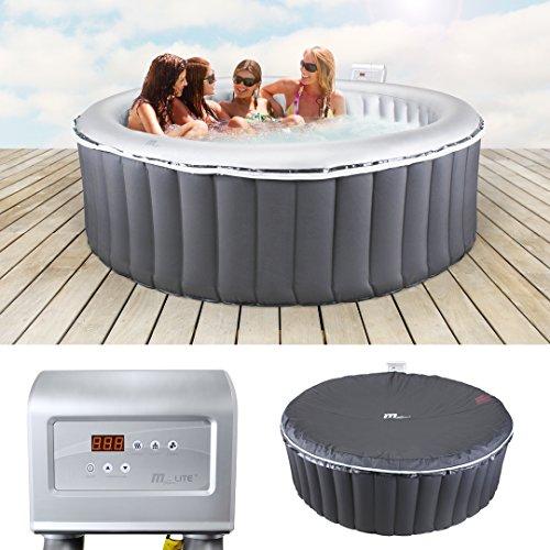 Miweba MSpa aufblasbarer Whirlpool M-021LS 6 Personen 2,04 Meter rund Indoor-Outdoor inklusive Filterkartusche und Abdeckhaube