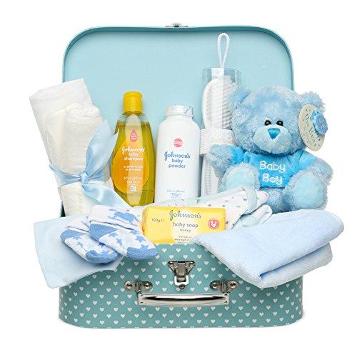 Baby Geschenkset I Geschenk Geburt & Taufe I Originelle Geschenkidee für Neugeborene – Süße Erinnerungsbox mit Teddy, Kleidung, Lätzchen, Badeschaum – Geschenk zur Geburt Junge