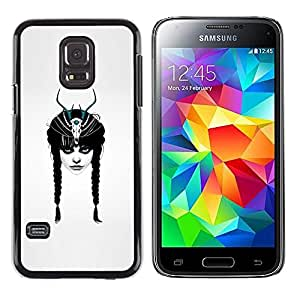 Harte PC Hülle Schutzhülle Handyhülle Hard Protective Case Smartphone Cover for Samsung Galaxy S5 Mini, SM-G800 // Horned Emo Goth Mädchen // CooleCell