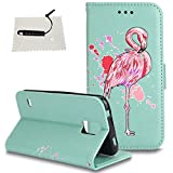 TOCASO Schutzhülle Flamingo Samsung Galaxy S5 Leder Wallet Hülle hülle Ultra Slim Handyhülle Schutz Hülle Handytasche Klapphülle Stand Karte Magnet - Flamingo Hellgrün