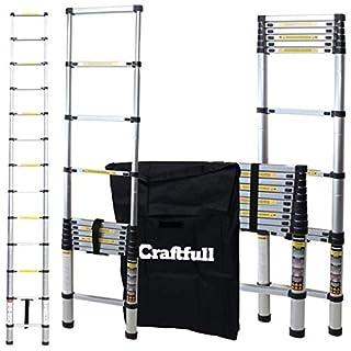 Craftfull Aluminum SOFT CLOSE Teleskopleiter inkl. Tragetasche - in 2/2,6/2,9/3,2/3,8/4,1/4,4 Meter - Mehrzweckleiter - Stehleiter - Aluminiumleiter - Leiter - Schiebeleiter - Aluleiter (3.8 Meter)