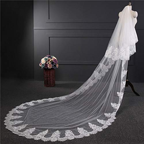 DEAR-JY Hochzeitsschleier, Brautschleier Weiches Garn über 3,9 Meter doppellagig, Eleganter Brautschleier Dreidimensionales Blumenspitzengarn Tüll mit Kamm,Ivory