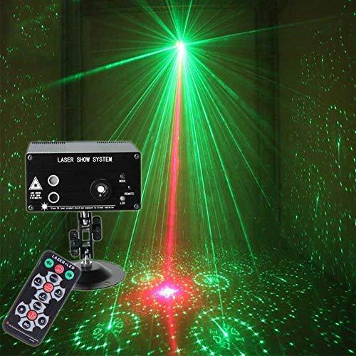 Party Lichter RGB 3 Objektiv 48 Muster Projektor DJ Disco Licht Mini LED Strobe Licht Sound aktiviert Bühnenlichter mit Fernbedienung Indoor for Geburtstagsfeiern Hochzeit Karaoke KTV Bar -715 (Licht Bars Strobe)