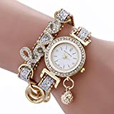 Minshao Fashion Womens 2 Layers Diamonds Love Bling Sequins Beads Leather Band Ball Pendant Rhinestone Chian Quartz Bracelet Wristwatch for Womens Gift (Silver)