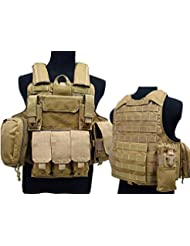 Táctico militar Airsoft Paintball camuflaje nivel 5Molle combate chaleco marrón