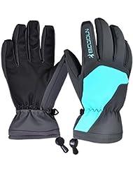 De la Mujer Impermeable Térmico Invierno Guantes de esquí snowboard de moto Ciclismo Deportes al aire libre guantes, color azul, tamaño mediano