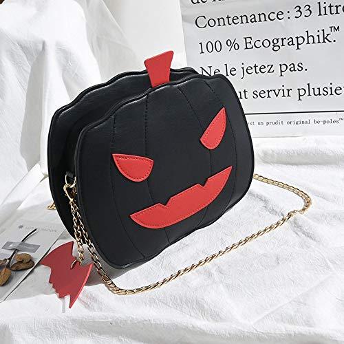 (ZLULU Damen-Schultertaschen Damenhandtaschen Niedliche Kürbis Tasche Kontrast Niedliche Halloween Kreative Joker Eine Schulter Messenger Kette Tasche, B)