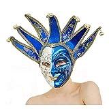 YUFENG New Orleans Mardi Gras Schwarz Weiß Bell Maske Jester Kostüm Paraden Karneval Ball Blau