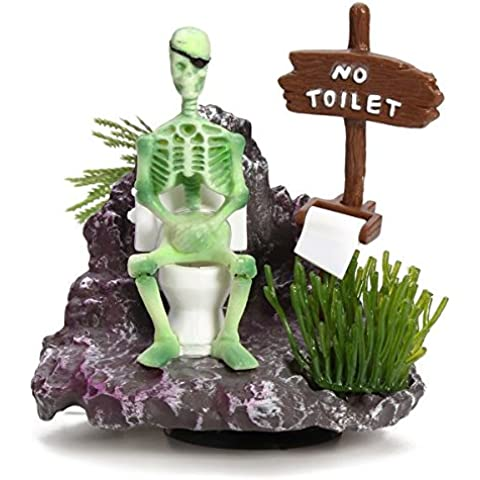 Scheletro On Toilet Azione -Air Aquarium Ornament