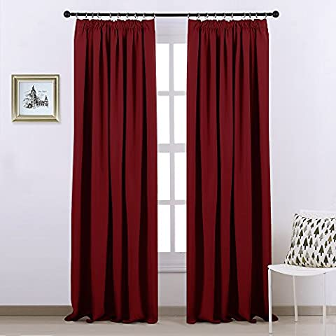 Pencil Pleat Blackout Curtains Panels - PONY DANCE Thermal Insulated Window Treatment Blackout Curtain Drapes for Kid's Room/ Room Darkening and Temperature Protecting, 1 Pair, 90