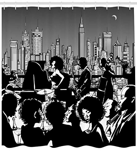 tgyew Jazz Shower Curtain, Band Performing on a Rooftop in Party with New York City Downtown Landscape, Cloth Fabric Bathroom Decor Set with Hooks, 66x72 inches Extra Long, Grey Black and White