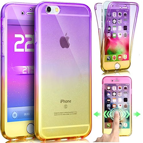 Cover iPhone 6, Custodia iPhone 6S Trasparente, iPhone 6 / 6S Cover Custodia 360 Full Body in TPU Silicone, Surakey Gradiente Colore Ultra Sottile Gel Gomma Silicone iPhone 6S Custodia Fronte Retro Pr Porpora Giallo