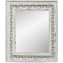 Espejo de Pared en Madera de Abeto Blanco con Ornamentos Decorativos Alto 47 cm