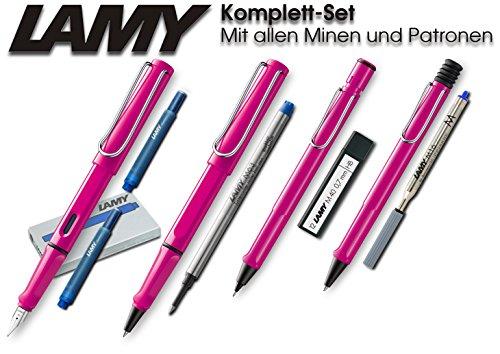 Lamy Safari Set [Füller + Kugelschreiber + Tintenroller + Bleistift] (inkl. Ersatzminen + Patronen, Pink)