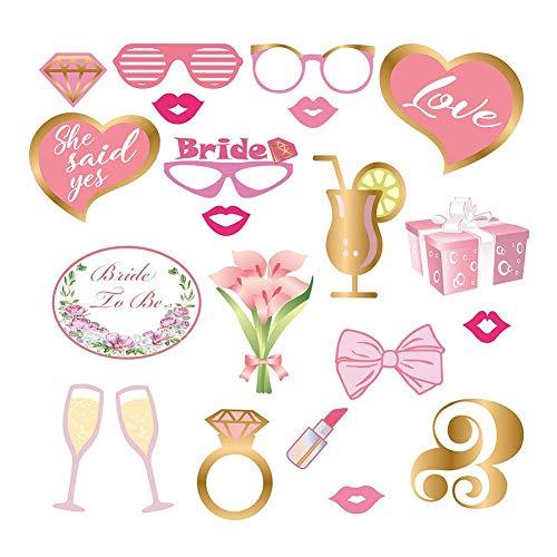 Todaytop 20PCS Lustige Hochzeit Photo Booth Requisiten Kit Rote Lippen Brille Diamantring Spaß Party Geschenk Zubehör für Brautdusche Hochzeit Party Favor Party Dekorationen Lustige Selfie Requisiten