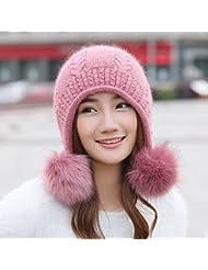 OME&QIUMEI Invernales Hat Gorro De Punto Hembra Doble Tapón De Oído, Cuero Rojo
