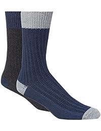 Green Treat Pack Of Two Dark Grey Ribbed Socks