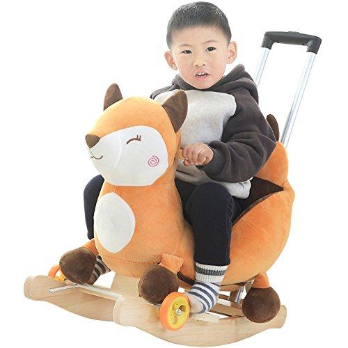 Qxmei cavallo a dondolo per bambini trojan baby toy bambino sedia a dondolo in legno massello regalo 1-4 anni