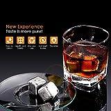 Amzdeal 4 Whisky Steine, Edelstahl Eiswürfel, Wiederverwendbare Kühlsteine Kühlwürfel Whisky Würfel - 5