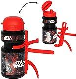 Unbekannt Fahrradtrinkflasche -  Star Wars - Darth Vader  - 360 ml - mit Halterung / Halter für Kinder Fahrradflasche - Fahrrad Trinkflasche - universal auch für Roll..