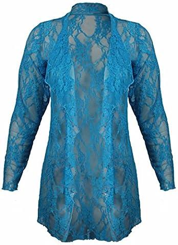 Nouveaux Womens Plus Taille Motif Fleur Lacets Cardigan Manches Longues Femmes Chute D'eau Ouvert Top - Turquoise, Femme, EU 52-54