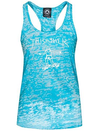 THRASHER Gonz' Women's Racerback Tank Vest. Turquoise. Blue