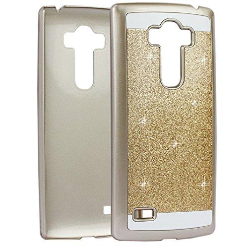 G4 Mini PC Hülle, Asnlove Kristall Schutzhülle für LG G4 Mini Bling Hart Schutz Etui Tasche Glitter Cover (Golden)