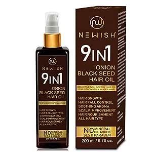 Newish Onion Black Seed Hair Oil for Hair Growth for Men and Women (Kalonji Oil) Dandruff & Hairfall Control 200 ml