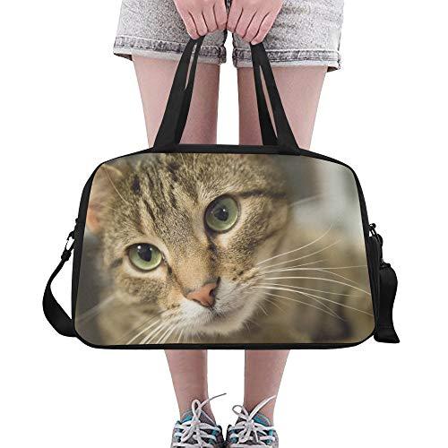 Tier große Katze Kopf mit schönen grünen Augen benutzerdefinierte große Yoga Gym Totes Fitness Handtaschen Reise Seesäcke mit Schultergurt Schuhbeutel für Übung Sport Gepäck für Mädchen Mens Womens