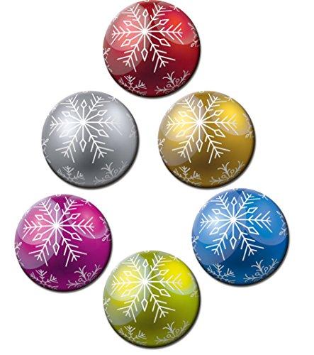 Magnete Weihnachten für Glasmagnettafel Extra Stark Motiv Weihnachtskugel Bunt 6er Set Gross Rund 50mm Weihnachtsdeko Kugeloptik