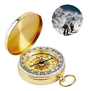 YEFIDER Messing Kompass, Portable Wasserdicht Taschenuhr Kompass Navigation Tools mit Leuchtziffern für Camping, Wandern…