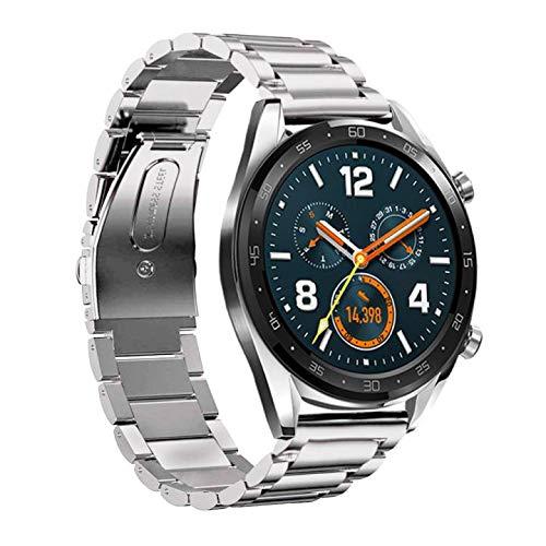 YUHUISTART Metall Uhrarmband Edelstahl Armband Strap Band für Huawei Watch GT (für Huawei Watch GT Smartuhr, Silber)