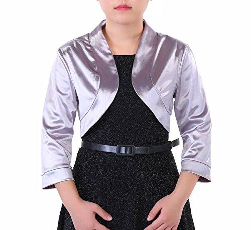 Timormode Femme Boléro Manches Longues Brillant Veste Chic Femme en Satin Gris