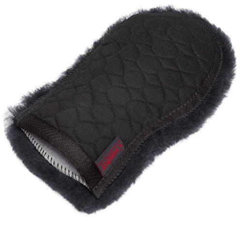 CHRIST Lammfell Putzhandschuh/Pflege-handschuh ideale Ergänzung zur Pflege Ihres Pferdes, Wollhöhe 30mm, one Size, in Farbe schwarz-grau