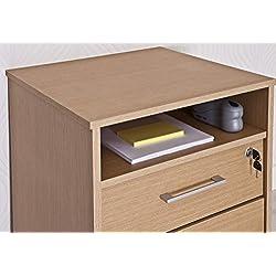 Intradisa 9004 - Mueble fichero para despacho con 1 cajón, 1 archivador y 1 hueco en la parte superior roble