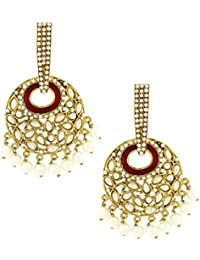 The Jewelbox Meenakari Pearl Large Jhumki Earring