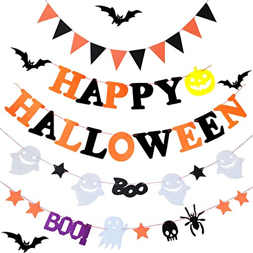 KooNicee 4Halloween Banner Kit Wand Dekor inkl. Wimpelkette Happy Halloween Banner mit Kürbis Schild Flagge, Dreieck, 2Ghost Spider Skull Baumwolle Stoff Pennant Zuhause, Schule, Garten Deko Party