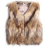 ZARU ♥Chaqueta de chaleco sin mangas de chaleco sin mangas de la piel de Faux de las mujeres V-Collar Outwear la capa♥Caqui