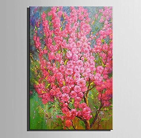 GL&G Art-Full arbre en poudre Peinture à l'encre encadrée 100% peintures à l'huile peintes à la main sur toile Art mural prêt à accrocher pour décorations à la maison de chambre,1pc,18*25CM